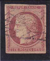 N° 6 Carmin Foncé-  Signé CALVES & BLANC  -Voir Verso Et Descriptif - - 1849-1850 Ceres