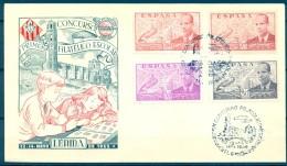 1955 , LÉRIDA , SOBRE CONMEMORATIVO , CONCURSO FILATÉLICO ESCOLAR - 1951-60 Briefe U. Dokumente