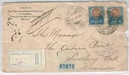 Mexico Registered Cover Scott #294 X2 Mineral Aurora Puebla 1904 Via TX & Chicago To Canada AV-F - Mexique