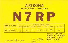 Amateur Radio QSL - N7RP - Phoenix, AZ -USA- 1977 On CW - Radio Amateur