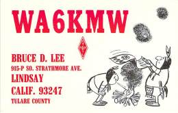 Amateur Radio QSL - WA6KMW - Lindsay, CA -USA- 1977 - 2 Scans - Radio Amateur