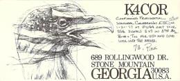 Amateur Radio QSL - K4COR - Stone Mountain, GA -USA- 1977 - Oversized Card 8.5 X 4 Inches - Radio Amateur