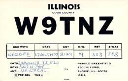 Amateur Radio QSL - W9TNZ - Skokie, IL -USA- 1977 - Radio Amateur