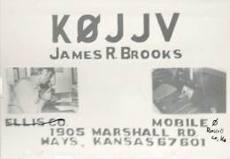 Amateur Radio QSL - K0JJV/M Movile In Russell County, KS -USA- 1976 - 2 Scans - Radio Amateur