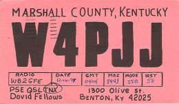Amateur Radio QSL - W4PJJ - Benton, KY -USA- 1977 - 2 Scans - Radio Amateur
