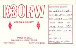 Amateur Radio QSL - K3ORW - Taneytown, MD -USA- 1977 - 2 Scans - Radio Amateur