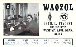 Amateur Radio QSL - WA0ZOL - West St. Paul, MN -USA- 1977 - 2 Scans - Radio Amateur
