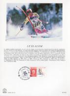 """FRANCE 1991 : Encart Philatélique 1er Jour """" JO D´ALBERTVILLE : SLALOM """" N° YT 2676."""