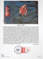 """FRANCE 1991 : Encart Philatélique 1er Jour """" JO D´ALBERTVILLE : SKI ALPIN """" N° YT 2710."""