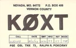 Amateur Radio QSL - K0XT - Nevada, MO -USA- 1978 - Radio Amateur