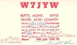 Amateur Radio QSL - W7JYW -Butte, MT -USA- 1977 - Radio Amateur