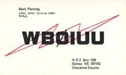 Amateur Radio QSL - WB0IUU - Sidney, NE -USA- 1977 - 2 Scans - Radio Amateur
