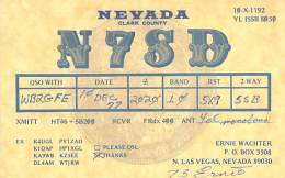 Amateur Radio QSL - N7SD - North Las Vegas, NV -USA- 1977 - 2 Scans - Radio Amateur