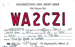 Amateur Radio QSL - WA2CZI - Moorestown, NJ -USA- 1977 - 2 Scans - Radio Amateur