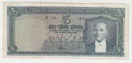Turkey 5 Lira Series 1930 (1965) VF Banknote Pick 174 - Turkije
