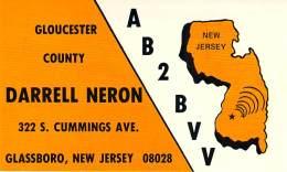 Amateur Radio QSL - AB2BVV - Glassboro, NJ -USA- 1976 - 2 Scans - Radio Amateur