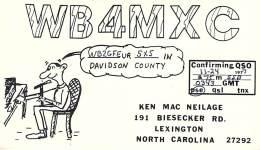 Amateur Radio QSL - WB4MXC - Lexington, NC -USA- 1977 - 2 Scans