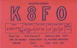 Amateur Radio QSL - K8FO - Cincinnati, OH -USA- 1977