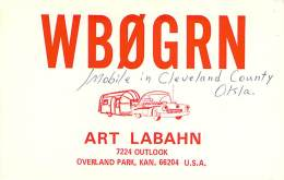 Amateur Radio QSL - WB0GRN Mobile In Cleveland County, OK -USA- 1976 - 2 Scans