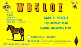 Amateur Radio QSL - WB5LOZ Mobile In Jefferson & Stephens Counties OK -USA- 1976 - 2 Scans