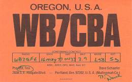 Amateur Radio QSL - WB7CBA - Portland, OR -USA- 1977