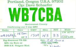Amateur Radio QSL - WB7CBA - Portland, OR -USA- 1977 - 2 Scans - Radio Amateur