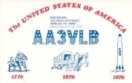 Amateur Radio QSL - AA3VLB - Ambler, PA -USA- 1976 Bicentennial - 2 Scans