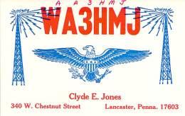 Amateur Radio QSL - AA3HMJ / WA3HMJ - Lancaster, PA -USA- 1976 - 2 Scans - Radio Amateur