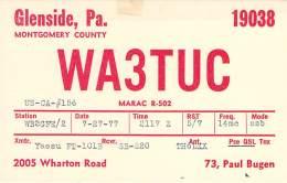 Amateur Radio QSL - WA3TUC - Glenside, PA -USA- 1977 - 2 Scans