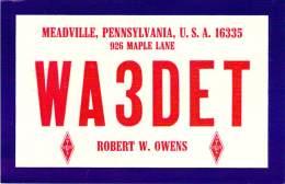 Amateur Radio QSL - WA3DET - Meadville, PA -USA- 1976 - 2 Scans