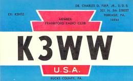 Amateur Radio QSL - K3WW - Perkasie, PA -USA- 1977 - 2 Scans