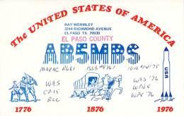 Amateur Radio QSL - AB5MBS - El Paso, TX -USA- 1976 Bicentennial - 2 Scans