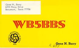 Amateur Radio QSL - WB5BBS - Beaumont, TX -USA- 1976 - 2 Scans