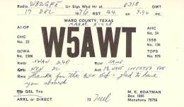 Amateur Radio QSL - W5AWT - Monahans, TX -USA- 1976 - Radio Amateur