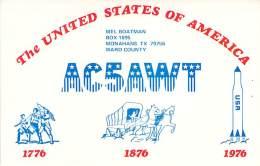 Amateur Radio QSL - AC5AWT - Monahans, TX -USA- 1976 Bicentennial - 2 Scans
