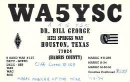 Amateur Radio QSL - AA5YSC / WA5YSC - Houston, TX -USA- 1976 - 2 Scans