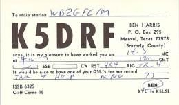 Amateur Radio QSL - K5DRF - Manvel, TX -USA- 1977