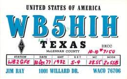 Amateur Radio QSL - WB5HIH - Waco, TX -USA- 1977 - 2 Scans