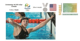 Spain 2016 - Olympic Games Rio 2016 - Silver Medal Swimming 400 4x100 Relay Female U.S.A. Cover - Juegos Olímpicos