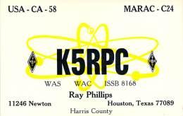 Amateur Radio QSL - K5RPC - Houston, TX -USA- 1977 - 2 Scans