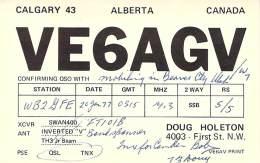 Amateur Radio QSL - VE6AGV/M Mobile In Beaver County, UT -USA- 1977 - 2 Scans - Radio Amateur
