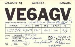 Amateur Radio QSL - VE6AGV/M Mobile In Beaver County, UT -USA- 1977 - 2 Scans