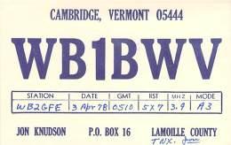 Amateur Radio QSL - WB1BWV - Cambridge, VT -USA- 1978 - 2 Scans