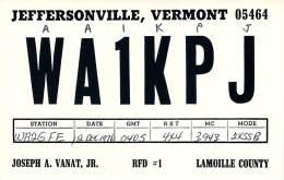 Amateur Radio QSL - AA1KPJ / WA1KPJ - Jeffersonville, VT -USA- 1976