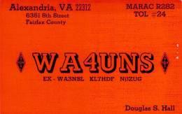 Amateur Radio QSL - WA4UNS - Alexandria, VA -USA- 1976 - 2 Scans