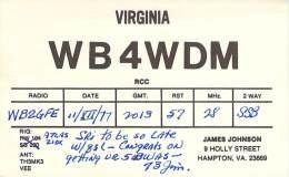 Amateur Radio QSL - WB4WDM - Hampton, VA -USA- 1977 - 2 Scans - Radio Amateur