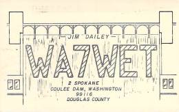 Amateur Radio QSL - WA7WET - Coulee Dam, WA -USA- 1977 - 2 Scans