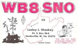 Amateur Radio QSL - WB8SNO - Sandyville, WV -USA- 1977 - 2 Scans