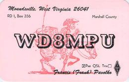 Amateur Radio QSL - WD8MPU - Moundsville, WV -USA- 1977 - 2 Scans - Radio Amateur