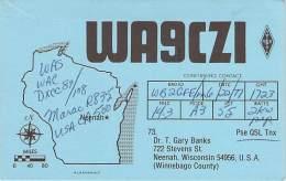 Amateur Radio QSL - WA9CZI - Neenah, WI -USA- 1977 - 2 Scans